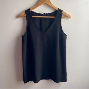 Club Monaco black v-neck sleeveless crepe top